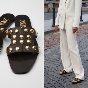 Zara leather slide sandals with studs brown